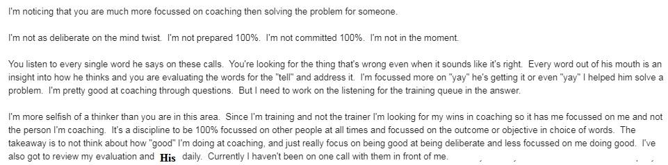 Coaching mindset